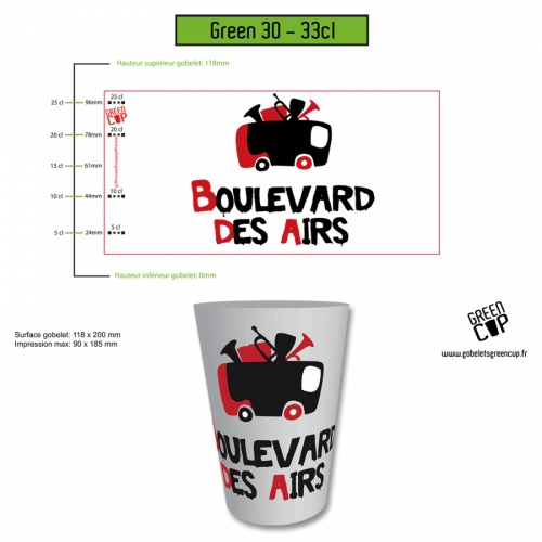 Gobelet Green 33 cl Boulevard des airs