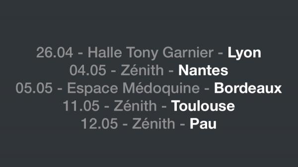Lyon Nantes Bordeaux Toulouse et Pau Zéniths BDA Boulevard des Airs